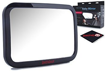 Baby Car Mirror - Rear Facing - Safety Certified & Crash Tested -Shatterproof, Crystal Clear, Huge Back Seat Baby Mirror -Gorgeous Gift Box, FREE Cleaning Cloth Included