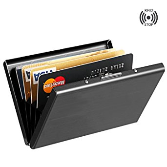 Best RFID Blocking Credit Card Holder, MaxGear™ Stainless Steel Card Holder Case for Travel and Work, Steel Metal Slim Wallet , Credit Card Case for Business Cards, Credit Cards, and Driver License