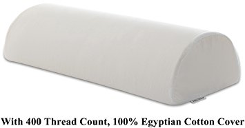 "InteVision Four Position Support Pillow (20.5"" x 8"" x 4.5"") with 400 Thread Count, 100% Egyptian Cotton Cover"