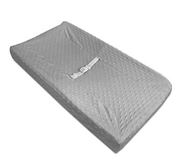 American Baby Company Heavenly Soft Minky Dot Fitted Contoured Changing Pad Cover, Gray Puff