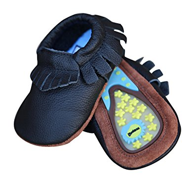 Lucky Love Baby Moccasins • Leather • Infant, Babies & Toddlers Shoes for Girls and Boys (12-18 months | size 5 US, Hard Sole Black)