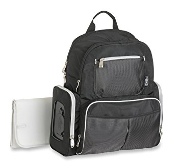 Graco Gotham Smart Organizer System - Baby Diaper Bag Backpack - Large, Roomy Bag with Wipeable Changing Pad -  Black and Grey