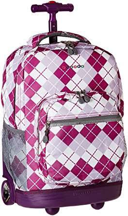 J World New York Sunrise Rolling Backpack, Argyle Purple, One Size