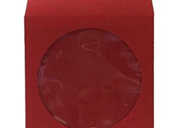 BestDuplicator - CDSLV-100-RD Premium Thick Red Paper CD/DVD Sleeves Envelope with Window Cut Out and Flap