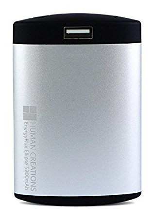 EnergyFlux Ellipse Rechargeable Hand Warmer 5200mAh / USB Portable Charger Power Bank Battery Pack (Silver/Black)