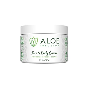 Aloe Infusion Face & Body Moisturizer Cream - Organic Aloe Vera, Shea Butter, Coenzyme Q10, Grape Seed Oil, Kukui Nut Oil - For Acne, Eczema, Psoriasis, Sensitive Skin, Dry & Itchy Skin - 2oz