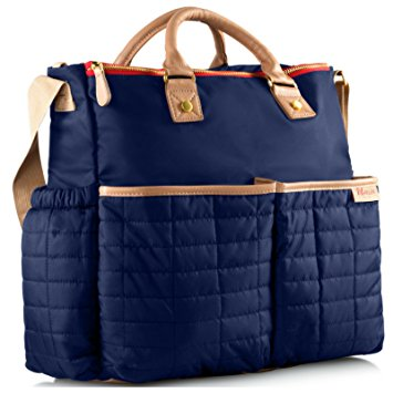 Diaper Bag- by Maman - with Matching Changing Pad - Stylish Designer Tote for Moms - for Baby Boys and Girls - PATENT PENDING