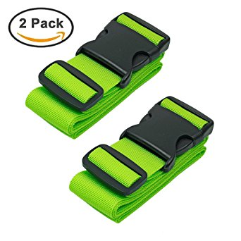 BlueCosto Luggage Strap Suitcase Belts Travel Accessories, 2-Pack, Green