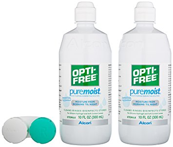 OPTI-FREEPuremoistMulti-Purpose Disinfecting Solution with Lens Case, Twin Pack, 10-Ounces Each
